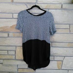 Lily White black & white marled twofer blouse